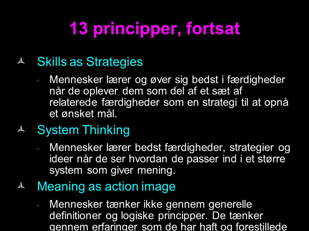 13 principper, fortsat Skills as Strategies System Thinking