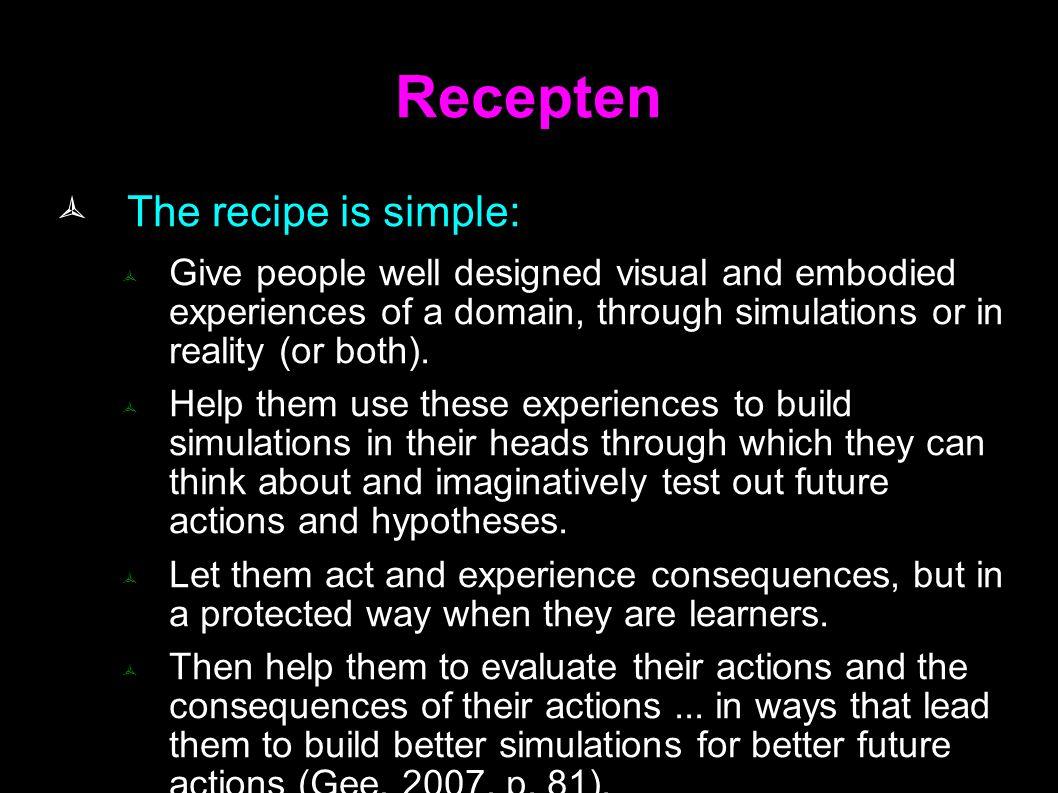 Recepten The recipe is simple: