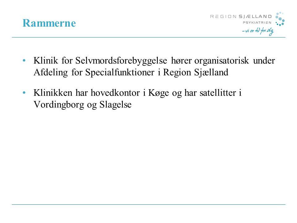 Rammerne Klinik for Selvmordsforebyggelse hører organisatorisk under Afdeling for Specialfunktioner i Region Sjælland.