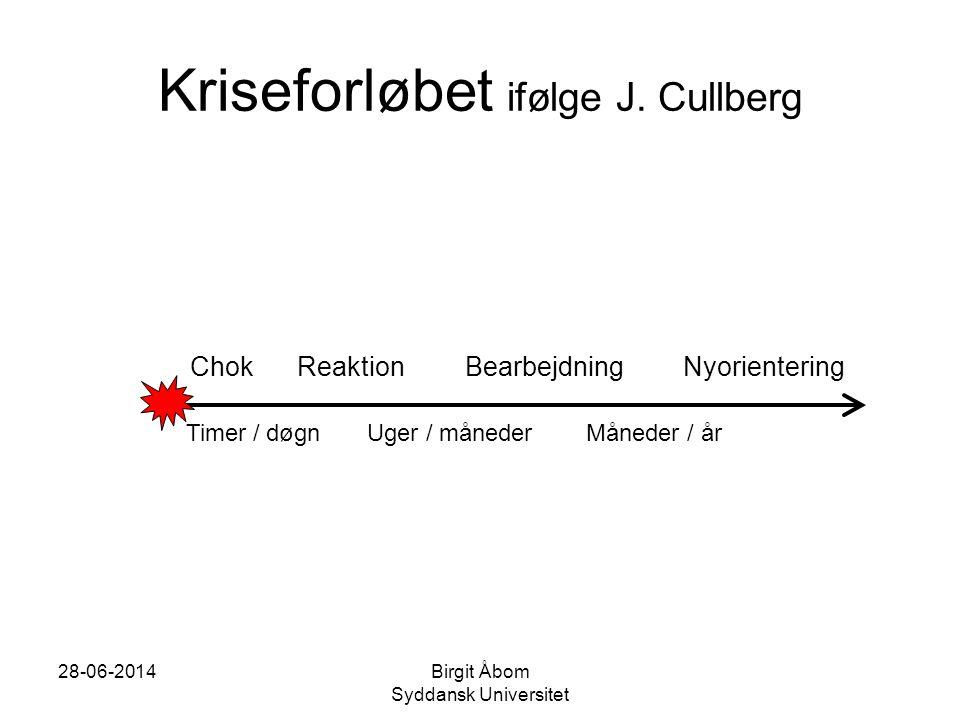 Kriseforløbet ifølge J. Cullberg