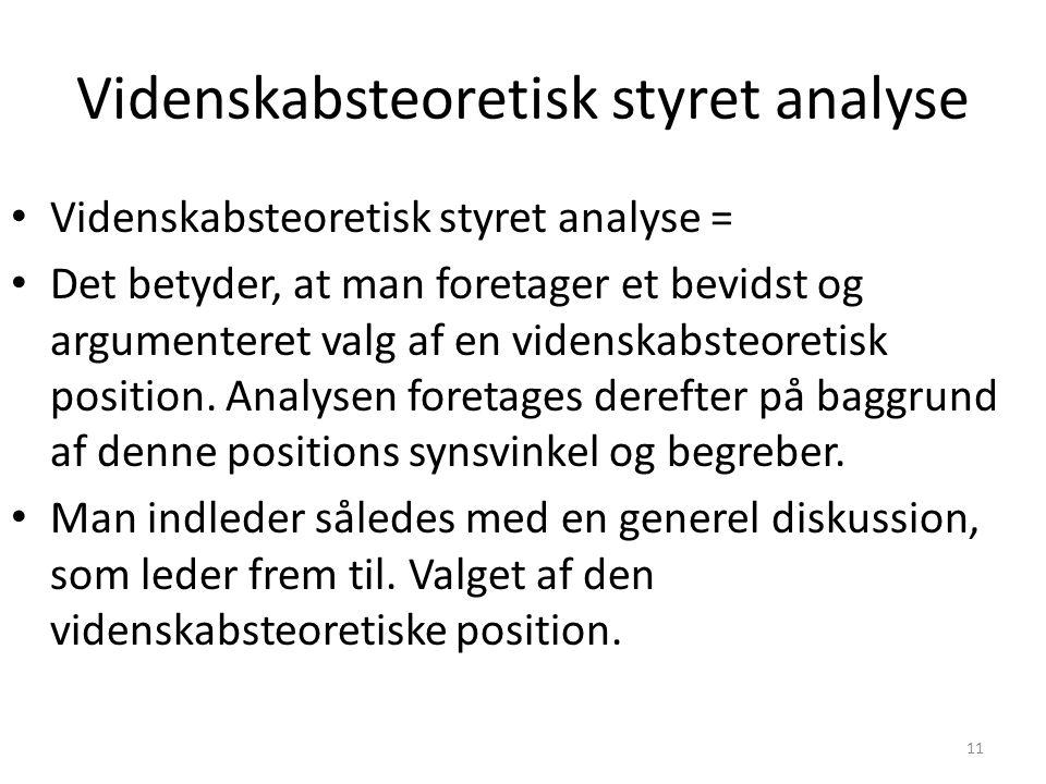 Videnskabsteoretisk styret analyse