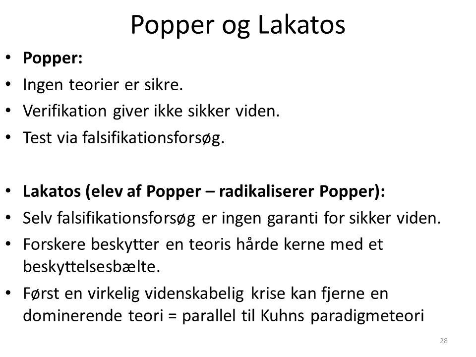 Popper og Lakatos Popper: Ingen teorier er sikre.