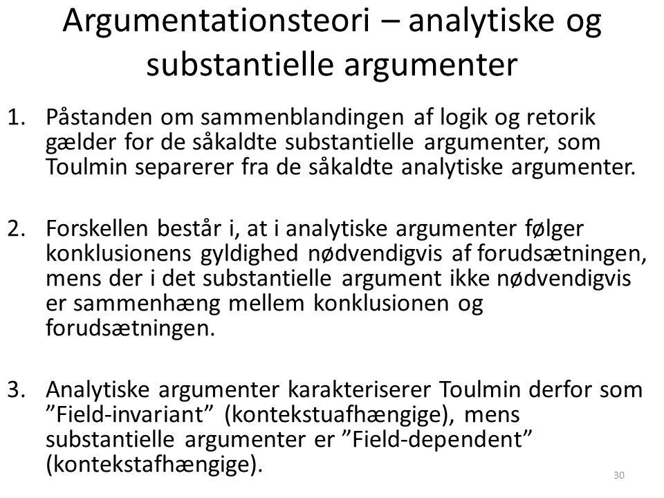 Argumentationsteori – analytiske og substantielle argumenter