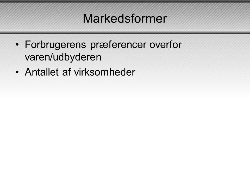 Markedsformer Forbrugerens præferencer overfor varen/udbyderen