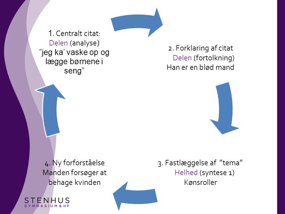 3. Fastlæggelse af tema Helhed (syntese 1) Kønsroller