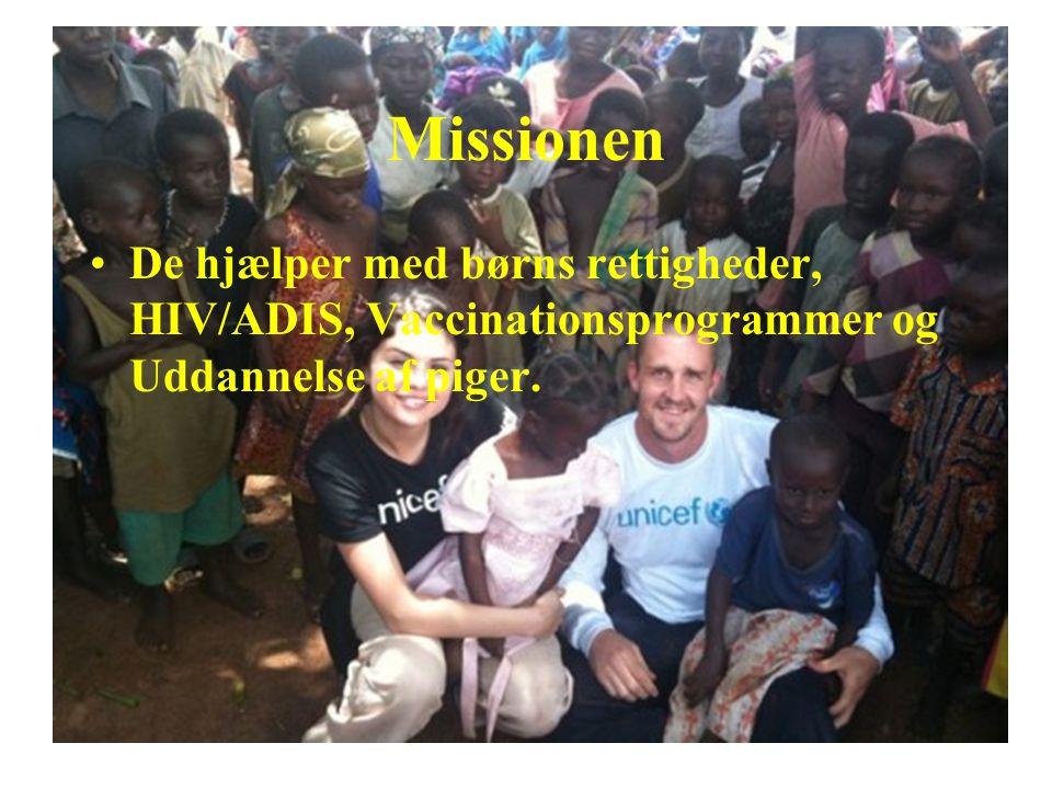 Missionen De hjælper med børns rettigheder, HIV/ADIS, Vaccinationsprogrammer og Uddannelse af piger.
