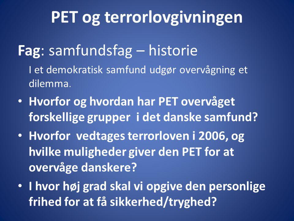 PET og terrorlovgivningen