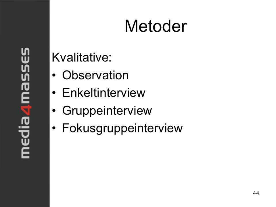 Metoder Kvalitative: Observation Enkeltinterview Gruppeinterview