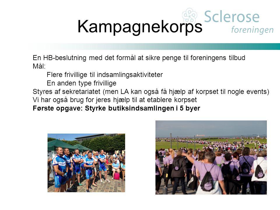 Kampagnekorps En HB-beslutning med det formål at sikre penge til foreningens tilbud. Mål: Flere frivillige til indsamlingsaktiviteter.