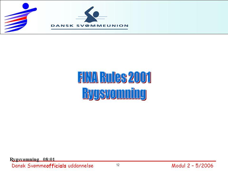 FINA Rules 2001 Rygsvømning Rygsvømning 08:01