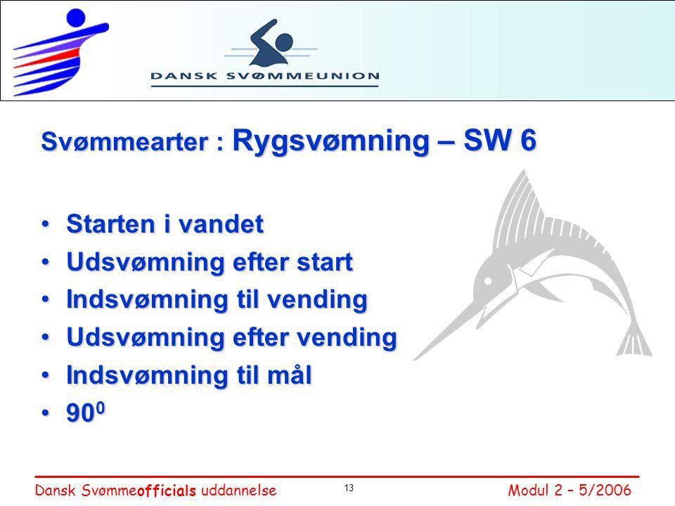Svømmearter : Rygsvømning – SW 6