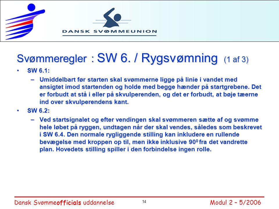 Svømmeregler : SW 6. / Rygsvømning (1 af 3)