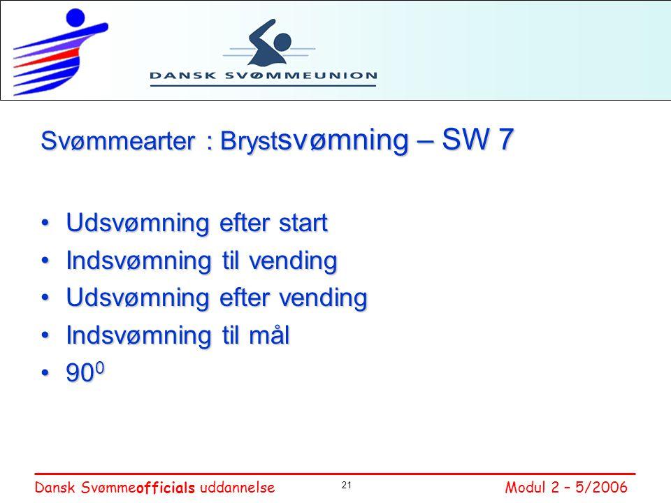 Svømmearter : Brystsvømning – SW 7