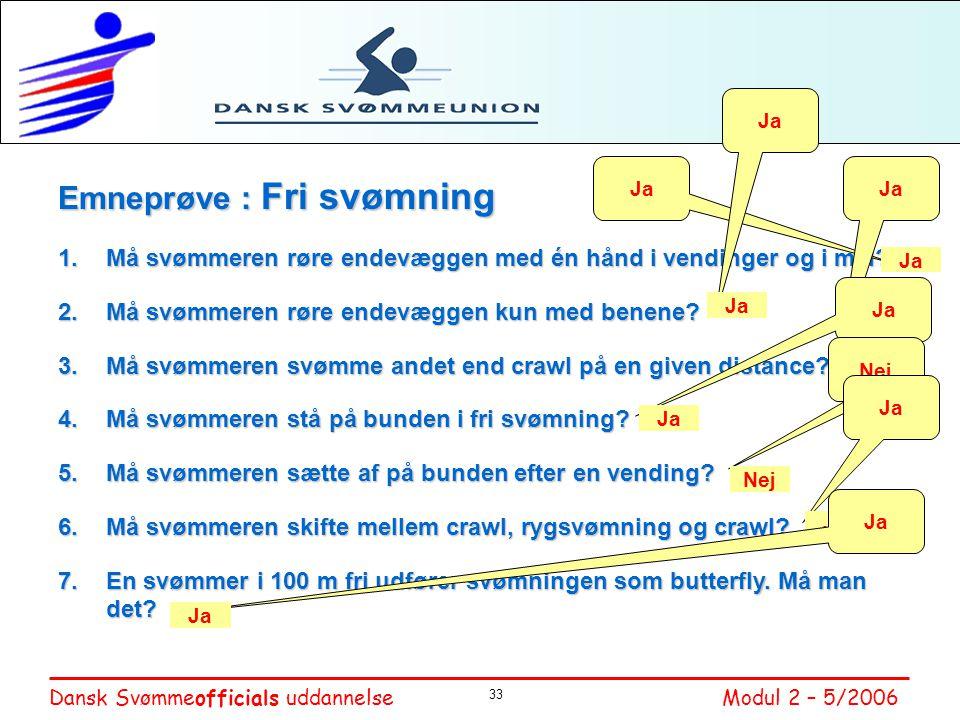Emneprøve : Fri svømning
