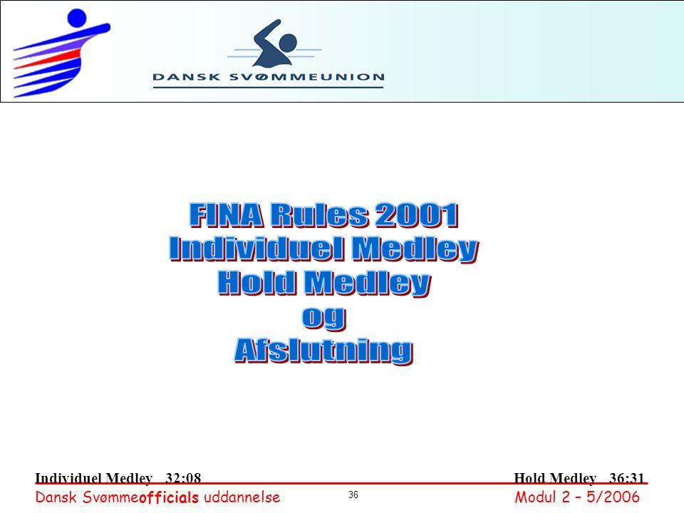 FINA Rules 2001 Individuel Medley Hold Medley og Afslutning
