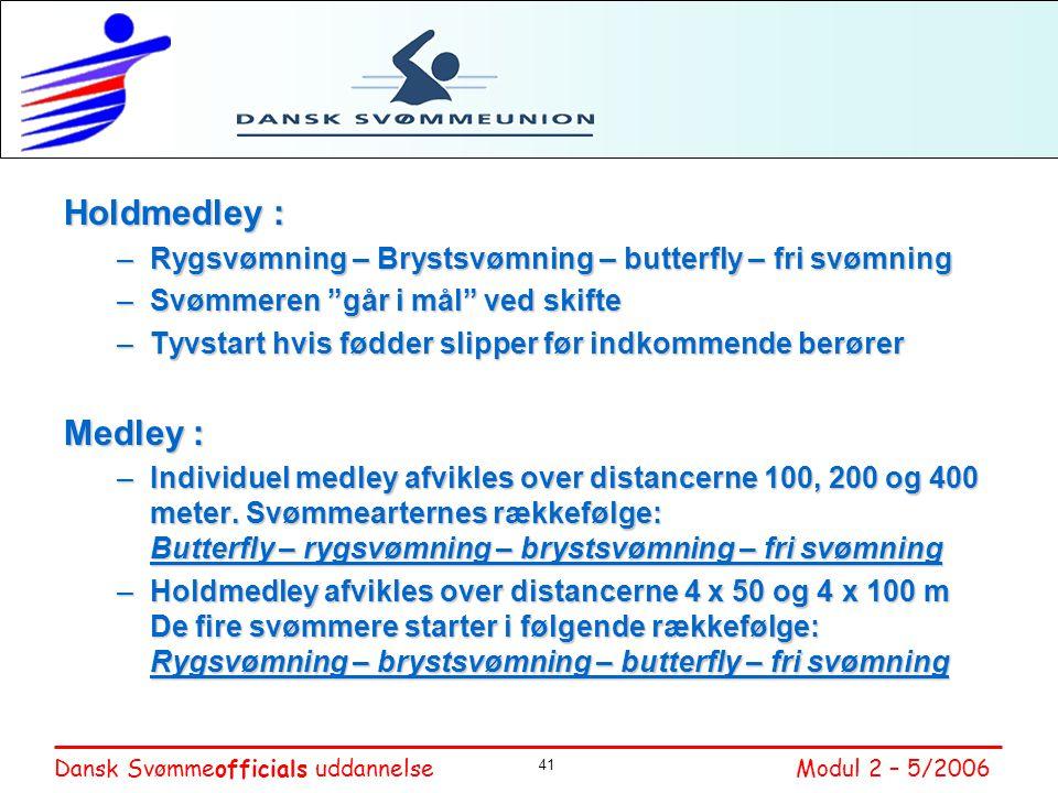 Holdmedley : Rygsvømning – Brystsvømning – butterfly – fri svømning. Svømmeren går i mål ved skifte.