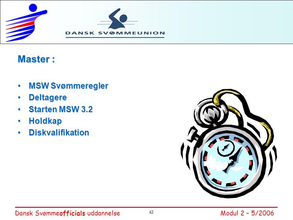 Master : MSW Svømmeregler Deltagere Starten MSW 3.2 Holdkap