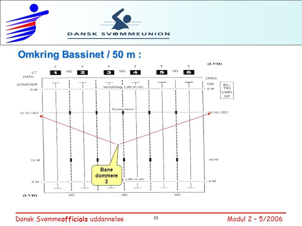 Omkring Bassinet / 50 m : Bane dommer – Primær kontrol af at svømmereglerne overholdes, går på langsiderne.