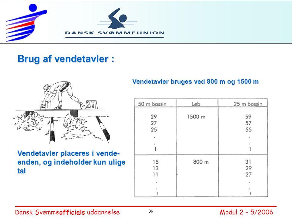 Brug af vendetavler : Vendetavler bruges ved 800 m og 1500 m.