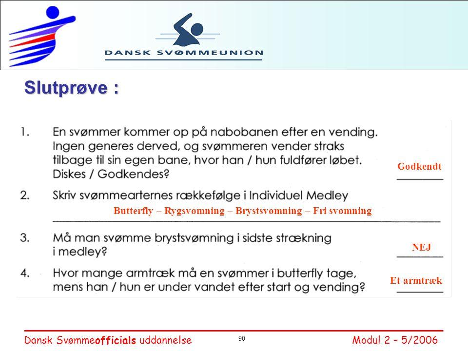 Slutprøve : Godkendt. Butterfly – Rygsvømning – Brystsvømning – Fri svømning. NEJ. 1: Godkendt da der ikke generes nogen andre svømmere.