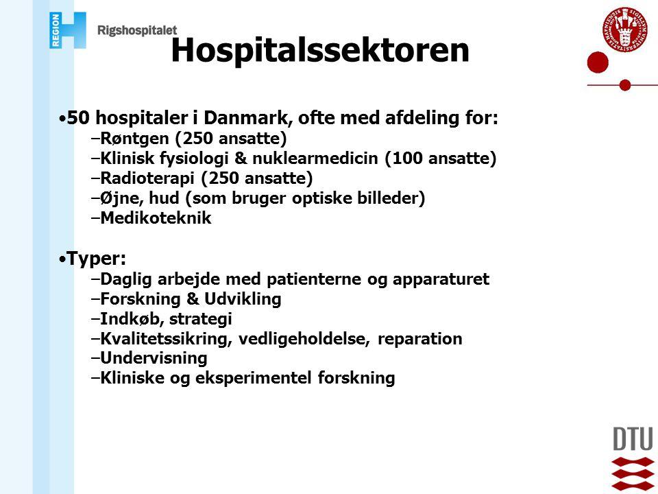 Hospitalssektoren 50 hospitaler i Danmark, ofte med afdeling for: