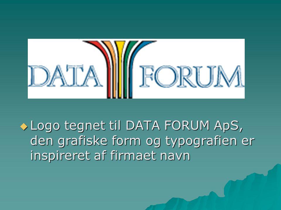 Logo tegnet til DATA FORUM ApS, den grafiske form og typografien er inspireret af firmaet navn