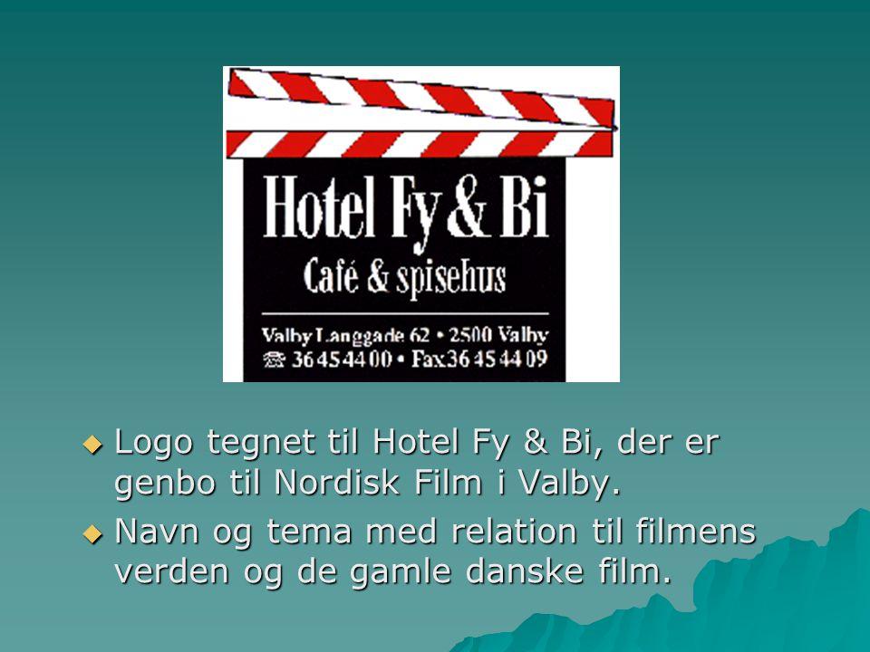 Logo tegnet til Hotel Fy & Bi, der er genbo til Nordisk Film i Valby.