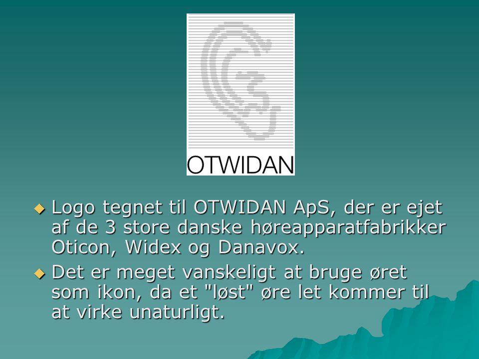 Logo tegnet til OTWIDAN ApS, der er ejet af de 3 store danske høreapparatfabrikker Oticon, Widex og Danavox.