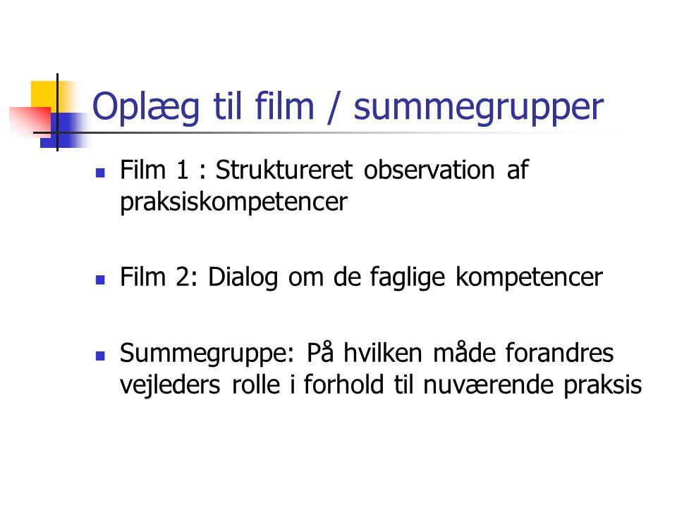 Oplæg til film / summegrupper