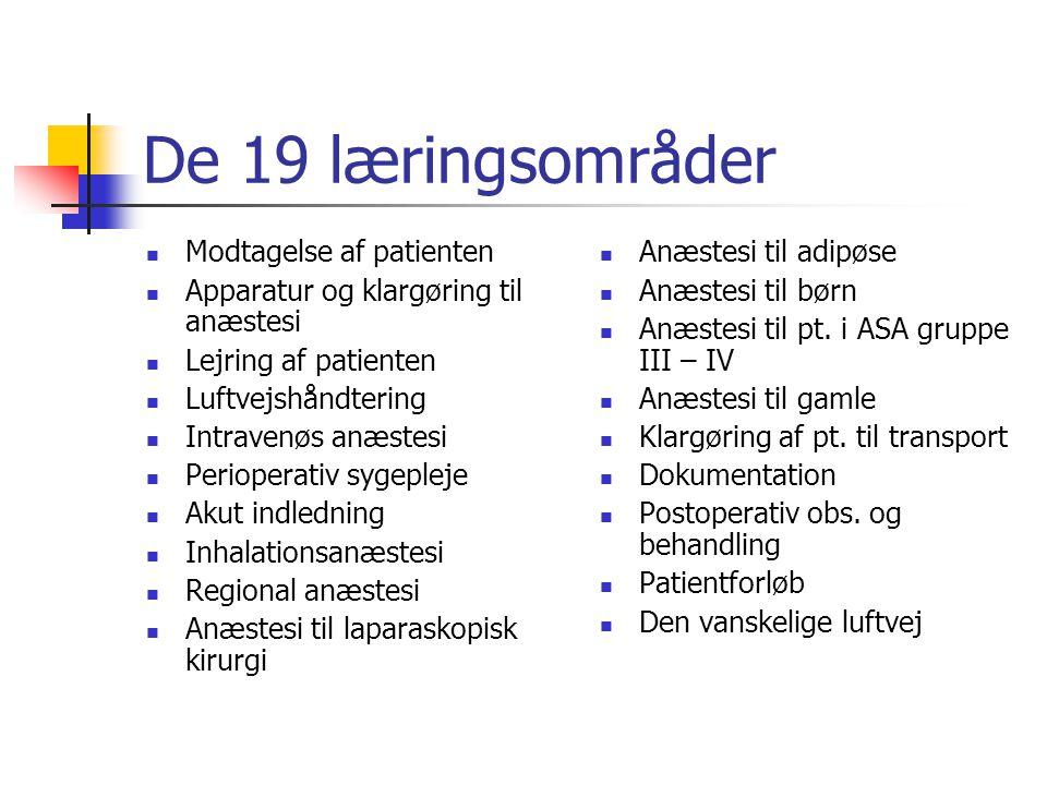 De 19 læringsområder Modtagelse af patienten