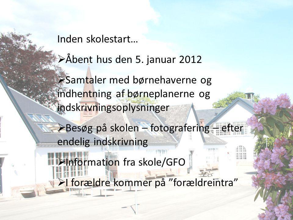 Inden skolestart… Åbent hus den 5. januar 2012. Samtaler med børnehaverne og indhentning af børneplanerne og indskrivningsoplysninger.