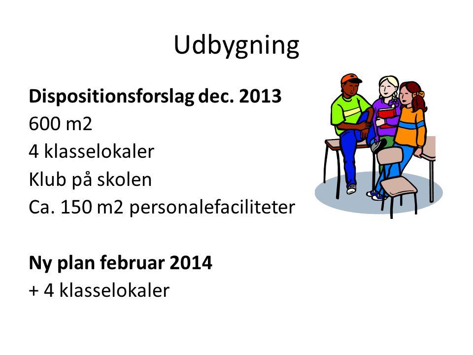 Udbygning Dispositionsforslag dec. 2013 600 m2 4 klasselokaler Klub på skolen Ca.