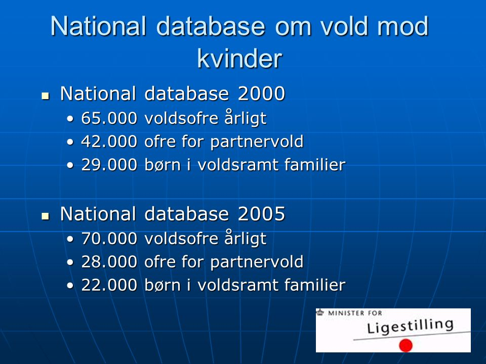 National database om vold mod kvinder