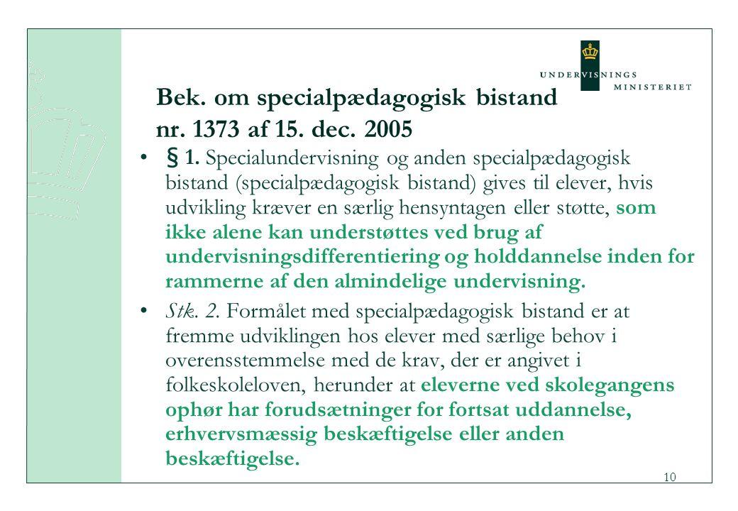 Bek. om specialpædagogisk bistand nr. 1373 af 15. dec. 2005