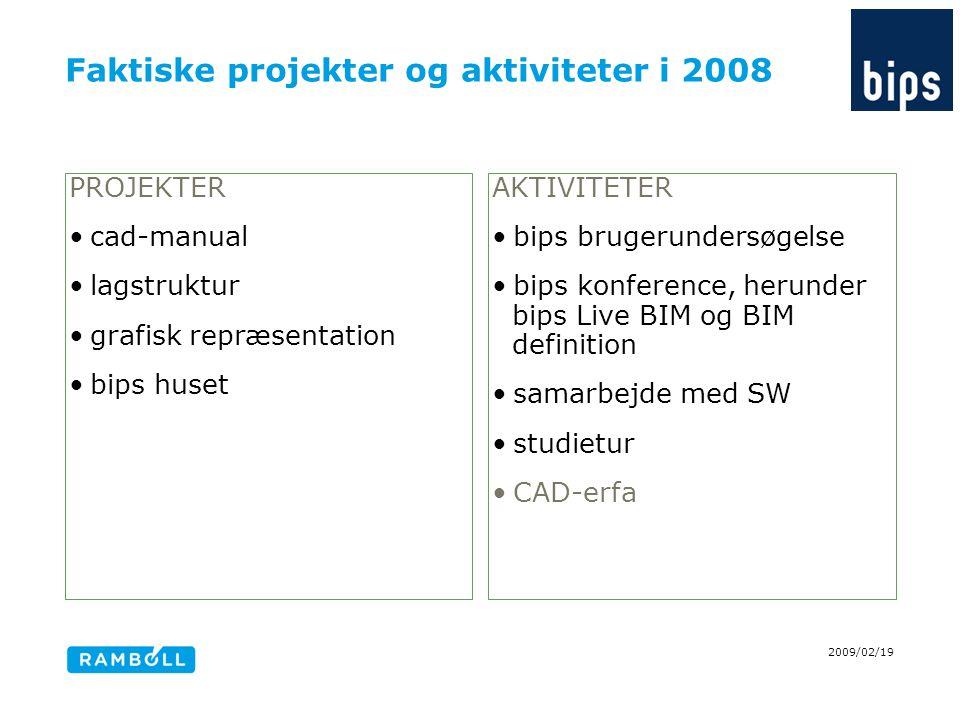 Faktiske projekter og aktiviteter i 2008