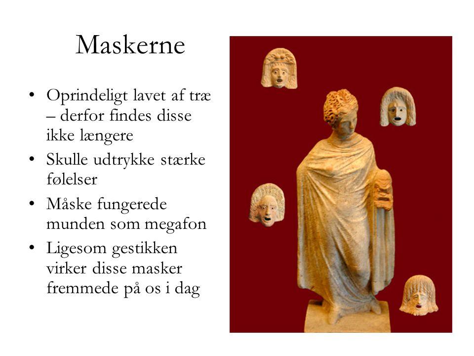 Maskerne Oprindeligt lavet af træ – derfor findes disse ikke længere