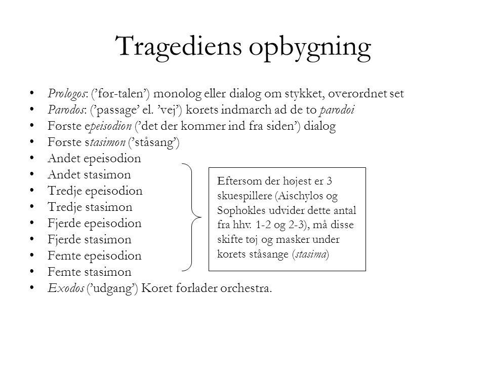 Tragediens opbygning Prologos: ('før-talen') monolog eller dialog om stykket, overordnet set.