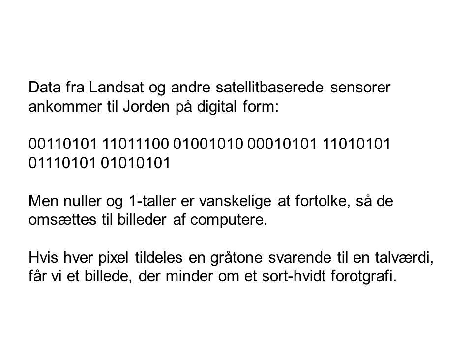 Data fra Landsat og andre satellitbaserede sensorer ankommer til Jorden på digital form: