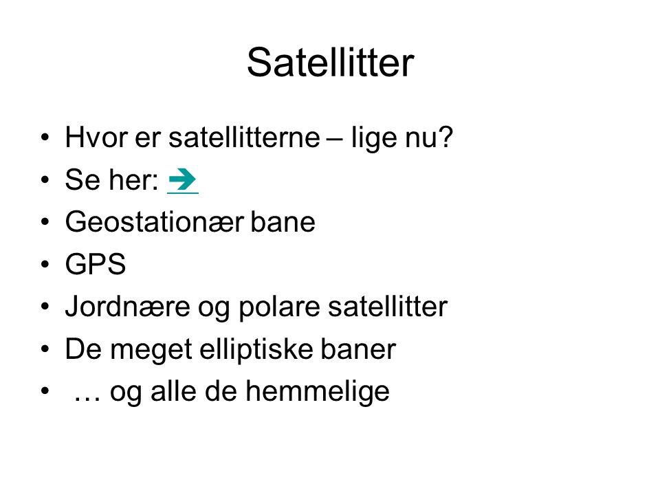 Satellitter Hvor er satellitterne – lige nu Se her: 