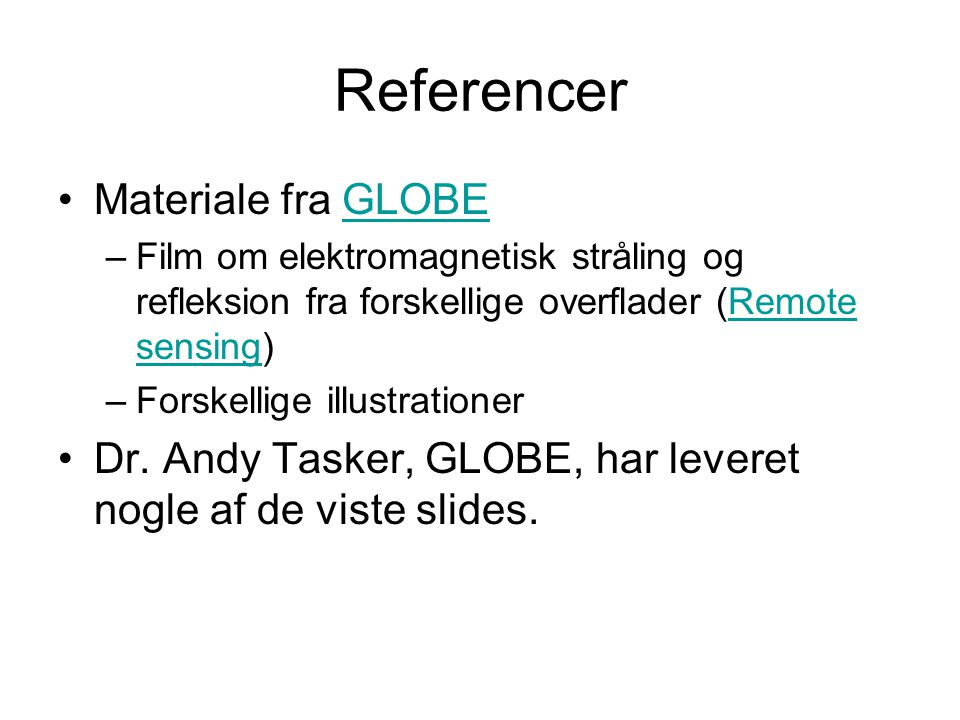 Referencer Materiale fra GLOBE