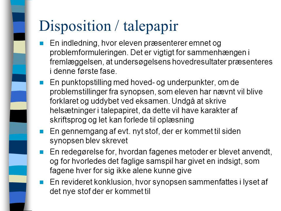 Disposition / talepapir