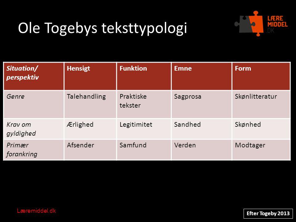 Ole Togebys teksttypologi