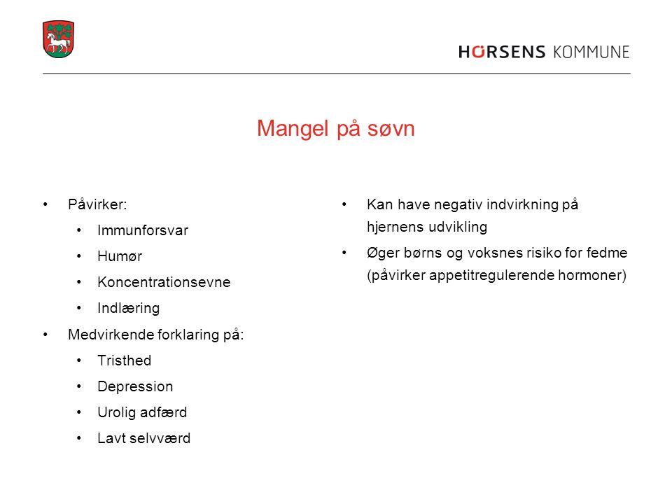 Mangel på søvn Påvirker: Immunforsvar Humør Koncentrationsevne