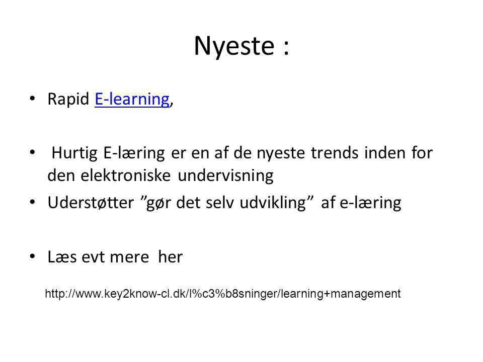 Nyeste : Rapid E-learning,