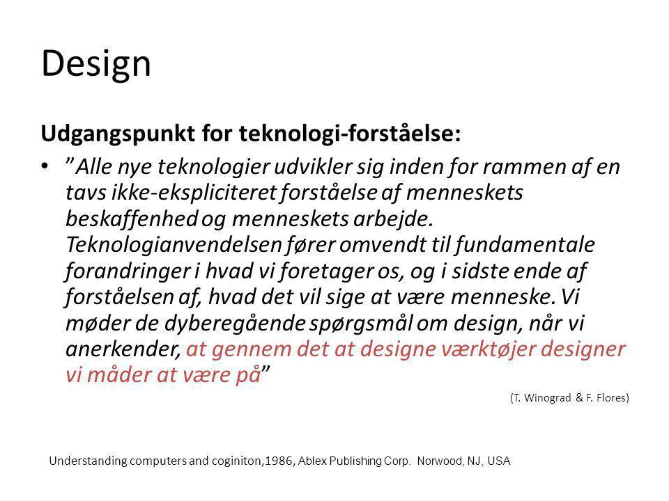 Design Udgangspunkt for teknologi-forståelse: