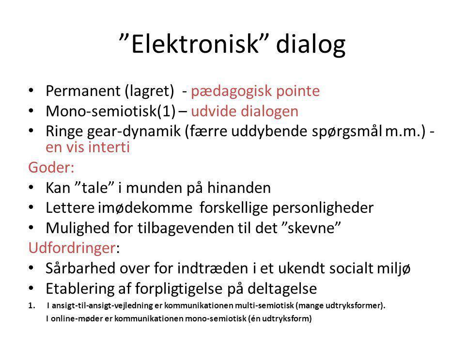 Elektronisk dialog Permanent (lagret) - pædagogisk pointe
