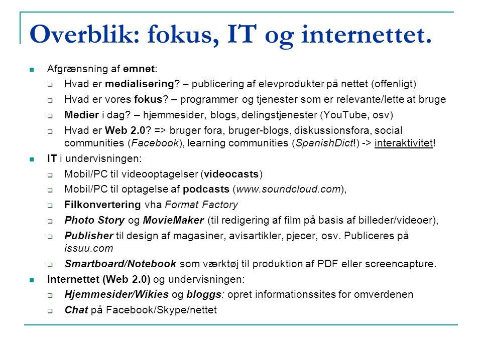 Overblik: fokus, IT og internettet.