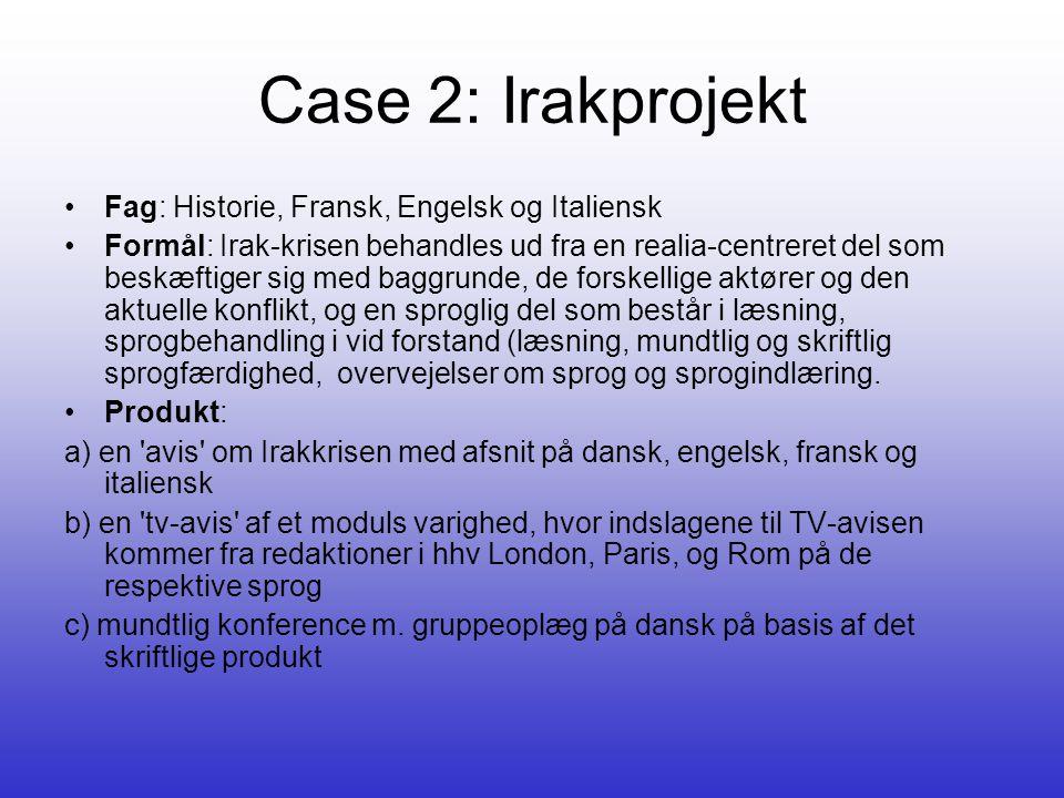 Case 2: Irakprojekt Fag: Historie, Fransk, Engelsk og Italiensk