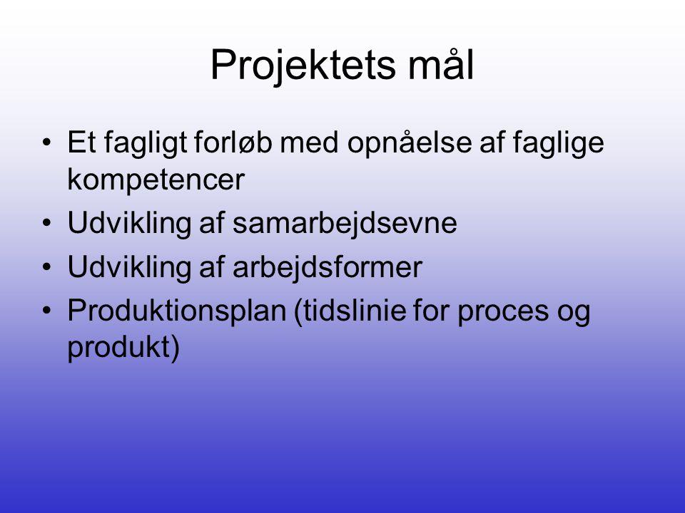 Projektets mål Et fagligt forløb med opnåelse af faglige kompetencer