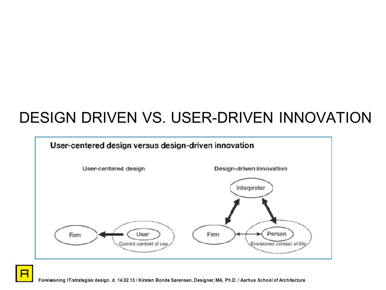DESIGN DRIVEN VS. USER-DRIVEN INNOVATION